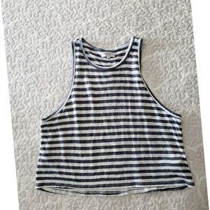 COMMUNITY linen stripe crop tank top